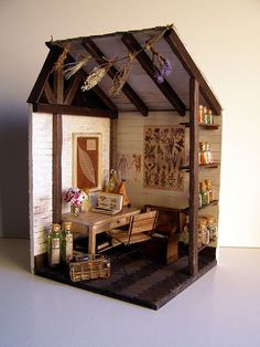 "Handmade miniature scene 1:12 scale ""Herbarium"" Pequeñeces by MaraGVerdugo"