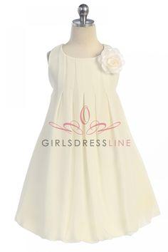 Off White Elegant Chiffon Sleeveless Bubbled Hem Short Flower Girl Dress