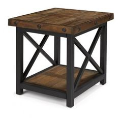 Carpenter Square End Table with Wood Plank Top by Flexsteel - Furniture City Chicago - End Table Leather Furniture, Rustic Furniture, Cool Furniture, Furniture Stores, Bedroom Furniture, Metal Furniture, Kitchen Furniture, Furniture Ideas, Modular Furniture