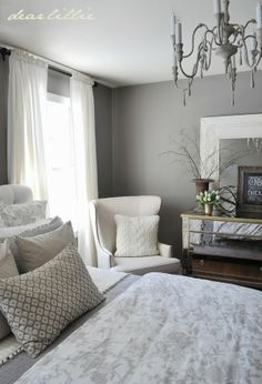 Luv the chandelier ---   Our Gray Guest Bedroom and a Full Source List  by Dear Lillie