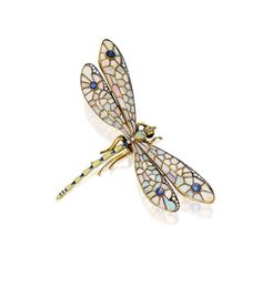 SILVER-TOPPED GOLD, COLORED STONE, ENAMEL AND DIAMOND BROOCH - Designed as a dragonfly, the wings set with cabochon opals, accented by rose and single-cut diamonds, the wings and eyes set with six cabochon sapphires, the body further highlighted with blue and green enamel, gross weight approximately 18 dwts.
