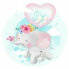 cute little elephant flying with love balloon, Watercolor, Birthday, Baby PNG and Vector Cartoon Elephant, Elephant Art, Cute Elephant, Colorful Drawings, Cute Drawings, Adobe Illustrator, Scrapbooking Image, Elephant Background, Baby Animals
