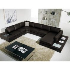 T35 Brown Leather Sectional Sofa With Lights #sofas #furniture #LAfurniture #sectionalsofa #sectionals #couches #Furnituredesign #HomeDecor #brownsofa #leathersofa #leathersofas #leathercouch #leathercouches -