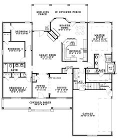LOVE LOVE the layout for hearth room next to LR with see-thru FP! House Plans, Home Plans and floor plans from Ultimate Plans Four Bedroom House Plans, Family House Plans, Home And Family, House Layout Plans, House Layouts, House Floor Plans, Open Baths, Southern House Plans, Ranch Style Homes
