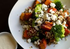 Pumpkin broccoli quinoa salad. This looks delicious! Will be taking this to work next week for lunches.