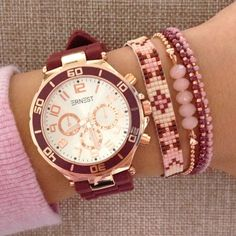 We love Bordeaux & Pink for the winter | www.mint15.nl | Bordeaux watch & bracelets by Mint15