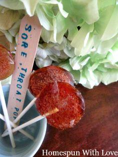 Homespun With Love: Natural Remedy: Kids Honey Lemon Sore Throat Lollipops