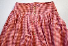 Vintage 1980s Red and White Checked Gingham Button Front Full | Etsy Full Midi Skirt, Gingham, Blue Denim, 1980s, Red And White, Vintage Outfits, Ootd, Buttons, Blouse