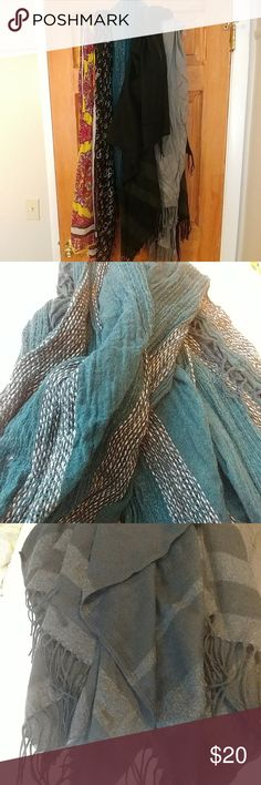Scarf lot! 5 scarves including infinity and shawl 5 scarves, blue with silver stitching is infinity, black with dark grey stripe is a shawl. Never worn. Accessories Scarves & Wraps