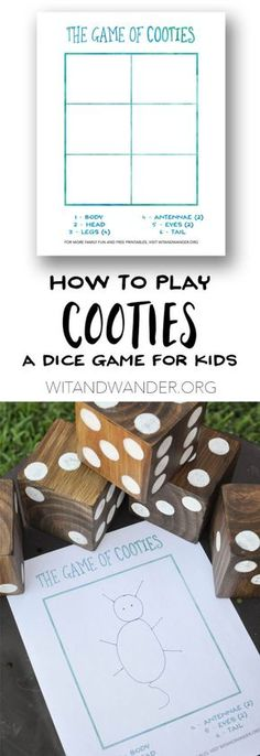 DIY Backyard Games and Free Printable Cooties Game - Wit & Wander  Learn how to make and play this fun outdoor backyard game that is perfect for kids and their families. Your game nights will never be the same with these giant yard dice and a game for preschoolers and older.