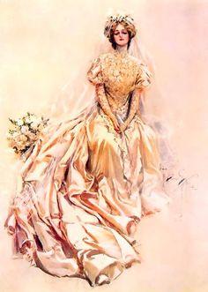 Bela noiva. 1902. Ilustrador: Harrison Fisher (Nova York, NY, USA, 27/07/1875 ou 1877 - 19/01/1934, Nova York, NY, USA).