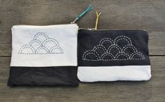 zipper pouches with cloud sashiko pattern