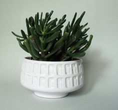 Mid Century white ceramic planter