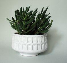 Mid Century white ceramic planter