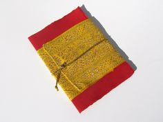 Red and Gold Sari Message Card with gold tie (Sushmita)