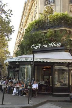 Cafe de Flore - just yards away from Le Deux Magots ... when home in Paris, I attend one of the two almost every day... the waiters know me, bring me the european papers, a cafe' in the morning--a pastisse in the afternoon <3