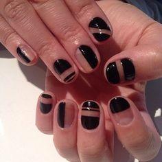 Black negative space nail art!