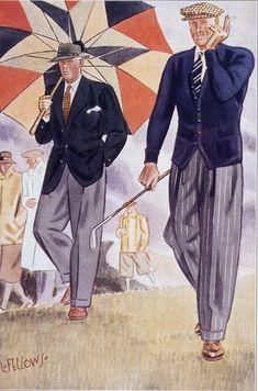 Mens Fashion Sweaters, Mens Fashion Suits, Golf Fashion, 1940's Fashion, Classic Fashion, School Fashion, Fashion History, Winter Fashion, Fashion Illustration Vintage