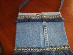Jean purse with fringe trim!