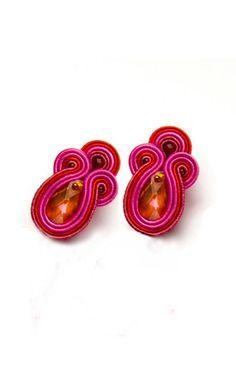 Drop earrings red ruby, pink, orange. Teardrop crystal stud earrings/ clips…