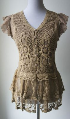 Pretty Angel victorian boho vintage lace and crochet top--earthy and feminine.  #PrettyAngel #Blouse