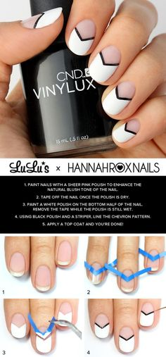 Best Gel Nail Designs - Black and White Chevron Nails With Gel Polish - Beautiful Gel Nail Designs And Pictures Of Manicures And Nailart To Give You Some Awesome Fashion Style. Step By Step Tutorials And Tips And Tricks And Ideas For Shape And Colour. Black And White Nail Designs, Negative Space Nails, Nagellack Design, Chevron Nails, Aztec Nails, Gel Nail Designs, Nails Design, Simple Nail Design, Chevron Nail Designs
