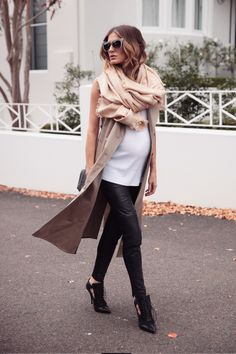 Kate Waterhouse.. TOME sleeveless trench, ASOS singlet, Louis Vuitton scarf, ASOS leggings, DITA sunglasses, Givenchy heels, and Jerome Dreyfuss bag.. #stylethebump #chicbump