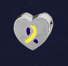 Down Syndrome Awareness Charm Yellow Blue Chunky Heart Ribbon Large Hole Bead #Unbranded #European