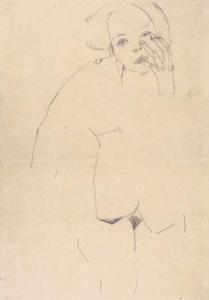 Egon Schiele, Weiblicher Akt, 1910, Bleistift auf braunem Papier, 54.2 x 38 cm, Albertina, Vienna