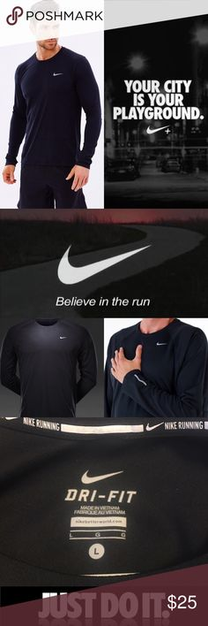✔️Men's Nike® Miler Long Sleeve✔️ Nike® Men's Dri-FIT® Miler Long Sleeve FEATURES:     * Crewneck design offers nonrestrictive fit     * Dri-FIT® fabric wicks sweat to keep you dry and comfortable     * Seams move smoothly across your skin     * Fabric:  polyester   Cross the finish line with ease in the Nike® Men's Miler Long Sleeve Running Shirt.  Dri-FIT® fabric will wick sweat to keep you dry, and the crewneck design will provide you with a nonrestrictive fit. Stay covered and ahead…