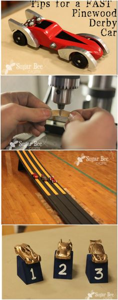 Tips for a FAST Pinewood Derby Car ~ Sugar Bee Crafts I love the trophies: matchbox cars spray painted gold and placed on a block of wood.