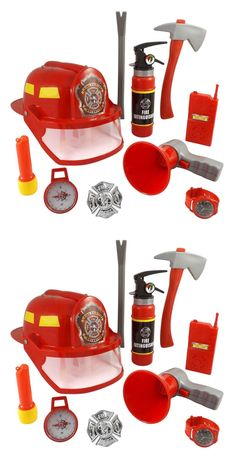 10 Pcs Fireman Gear Firefighter Costume Role Play Toy Set for Kids With Helmet for sale online