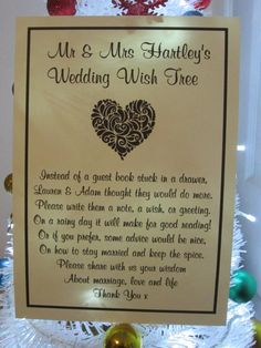 Items Similar To Personalised Wedding Wish Tree Poem Guest Book Alternative Birthday Christening On Etsy