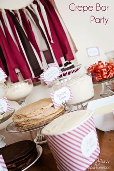 A full crepe bar we my sister and I put together for my mom& birthday including all the recipes we used Paris Themed Birthday Party, Birthday Parties, 30th Birthday, Crepe Recipes, Brunch Recipes, Crepe Bar, Food Stations, Little Girl Birthday, Morning Food