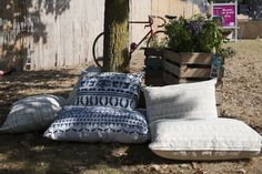 Oiva at the We Love Green festival. Ecological cushions made with hemp from the finnish brand Saana ja Olli. Photo by Anuliina Savolainen.