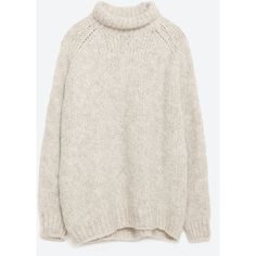 Zara Sweater With A Roll-Neck Collar (315 VEF) ❤ liked on Polyvore featuring tops, sweaters, stone, roll neck sweater, collar top, zara top, collared sweater and zara sweaters