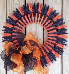 Double Halloween clothespin wreath on Etsy, $40.00