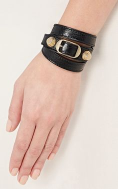 Balenciaga Bracelet, Balloon Skirt, Balenciaga Arena, Cathy Waterman, Brass Buckle, Logo Stamp, Leather Accessories, Bracelet Designs, Designing Women
