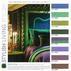 """Color Palette- rare orchid colors, blues, greens, add ochre and """"glass blue"""" (from interiors home market fall winter 2013 2014 color trends, Colour Schemes, Color Trends, Colour Palettes, Color Combinations, Home Trends, 2014 Trends, Design Seeds, Paint Colors For Home, Home Design Plans"""