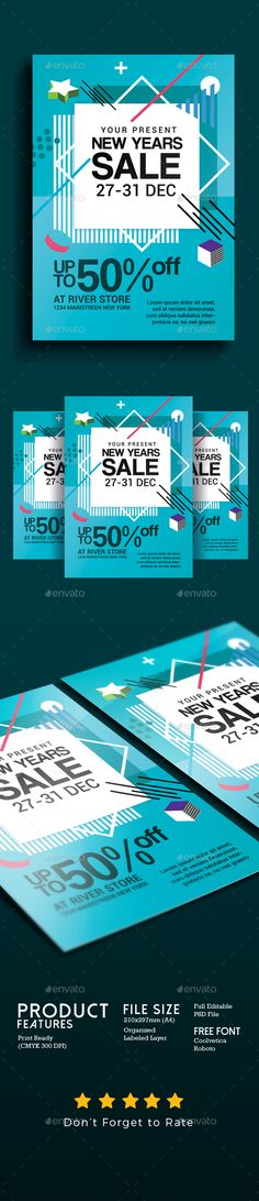 New Year Sale Flyer Template PSD