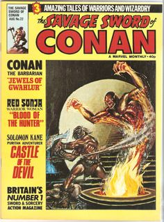 british marvel edition also contains red sonja an soloman kane (whoever he flippin was) Vintage Comic Books, Vintage Comics, Comic Books Art, Comic Art, Conan Comics, Marvel Comics, Marvel Magazine, Conan The Destroyer, Roman