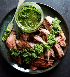 Flank Steak with Chimichurri. Garlic brown sugar flank steak with chimichurri Flank Steak Chimichurri, Cilantro Chimichurri, Steak Recipes, Low Carb Recipes, Cooking Recipes, Healthy Recipes, Sauce Recipes, Delicious Recipes, Protein Recipes