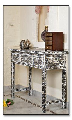 Grey Mother of Pearl #Inlay #Desk, Dressing table thttp://www.irisfurnishing.com/Mother-of-Pearl-Inlay-Furniture-s/1514.htm