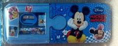 Blue Mickey Cartoon Pencil Eraser Ruler Pencil Sharpener Children Pencil Case