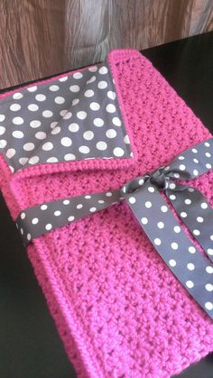 Pink and Polka Dots Crocheted Fabric Lined Baby Blanket