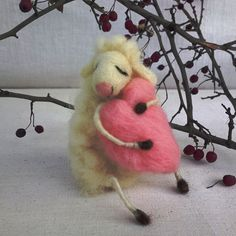 Felted sheep dreaming love Valentines gift needle by CozyMilArt, $48.00