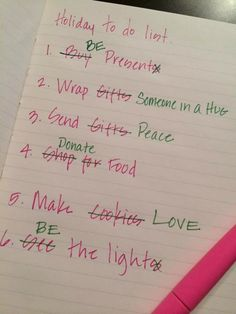 Holiday to-do list.