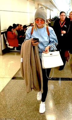 """Work winter whites like Sofia and her Hermes bag Click """"Visit"""" to buy #DailyMail"""