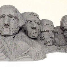 Some artists use paint, others bronze, but Nathan Sawaya chooses to build his awe-inspiring art out of toy building blocks. LEGO® bricks to be exact. The former corporate lawyer quit his job in 2001 to focus on becoming the world's foremost LEGO artist. Famous Sculptures, Lego Sculptures, Sculpture Art, Legos, Monte Rushmore, Amazing Lego Creations, Lego Figures, Lego Worlds, Lego Design