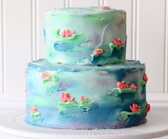 Watercolor cakes are the fastest, easiest way to make a gorgeous cake! Best Birthday Cake Recipe, Birthday Cake For Mom, 2nd Birthday, Cake Cookies, Cupcake Cakes, Cupcakes, Tea Cakes, Watercolor Cake Tutorial, Lily Cake